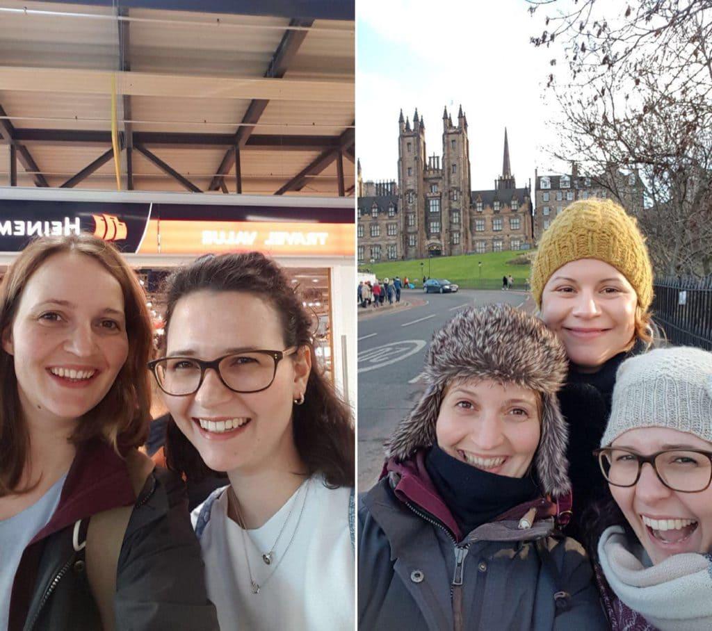 Meine Schwester & Ich kurz vor dem Abflug und dann mit Kate in Edinburgh