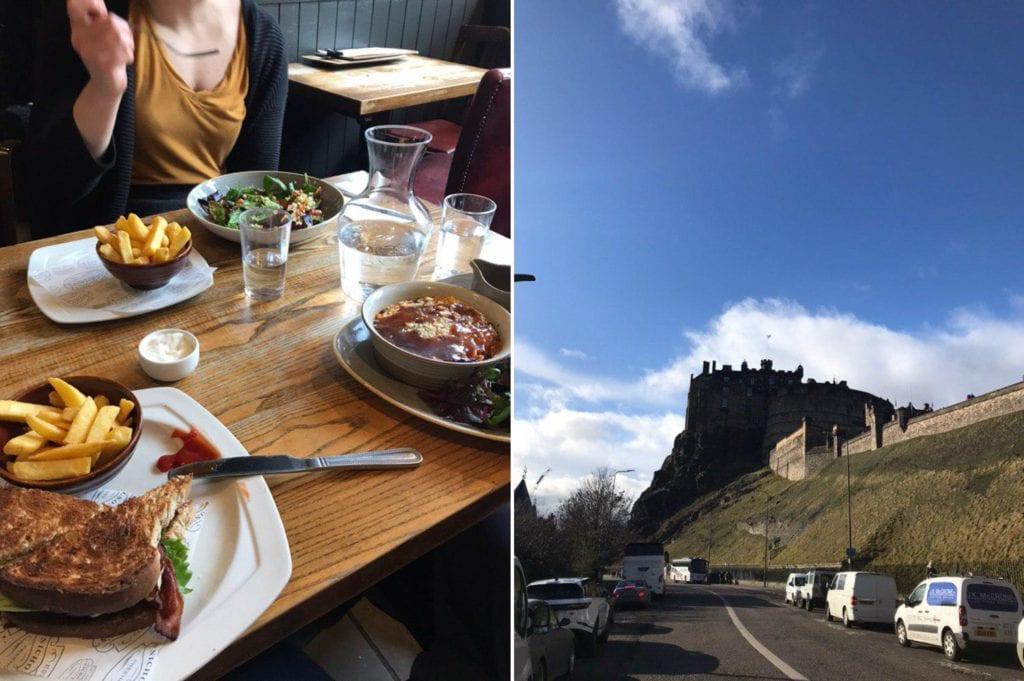 Pub Essen und das Edinburgh Castle