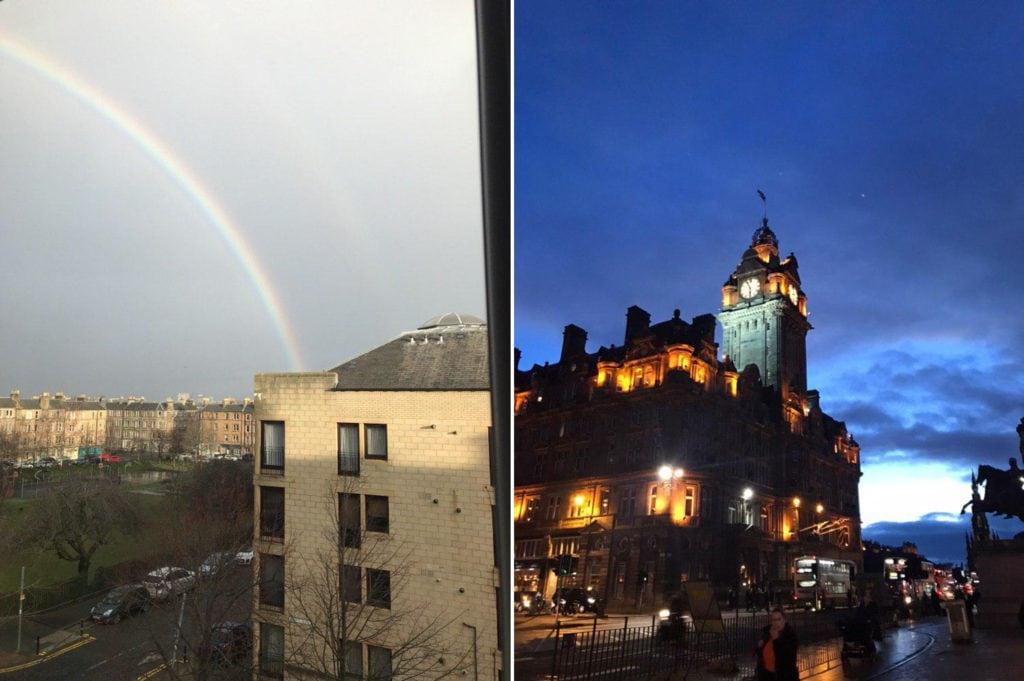 Wunderschöner Regenbogen und das Balmoral in der Nacht