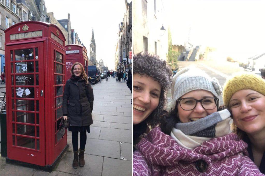 Typische Telefonzelle und Selfie