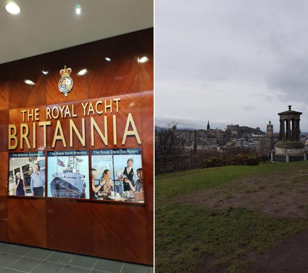 Royal Yacht Britannia und der Blick vom Calton Hill