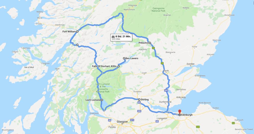Highland Tour - Reiseroute auf der Karte (Google Maps)