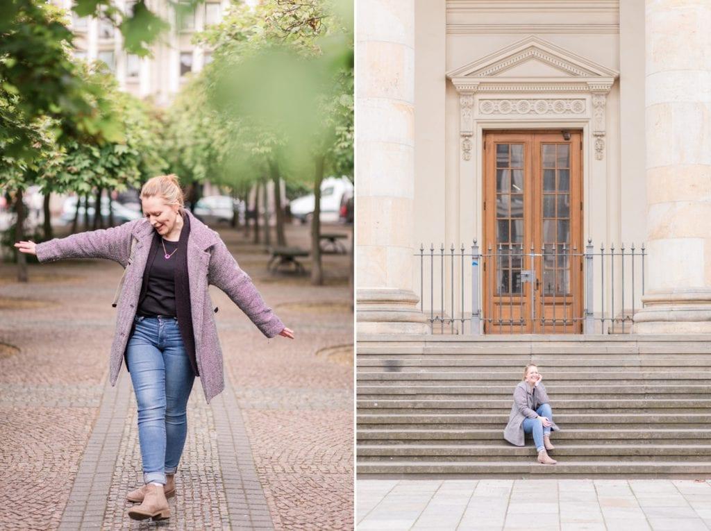 Portrait Aufnahmen mit Jennifer Thomas Fotografie in Berlin auf dem Gendarmenmarkt