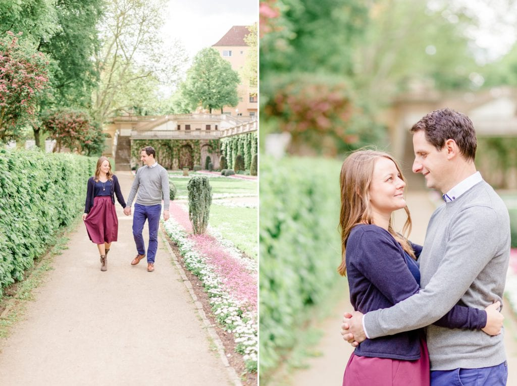 Verlobungsshooting mit Pariser Flair im Körnerpark Berlin mit Anke und Marc