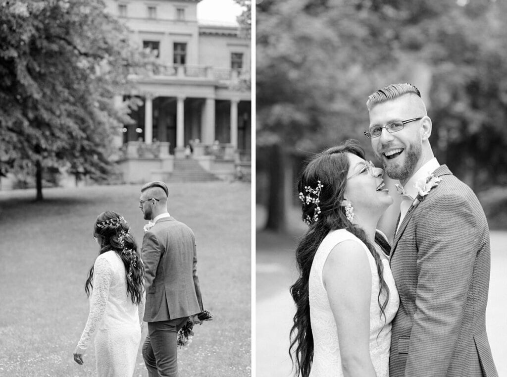 Schwarz weiß Fotos von Brautpaar