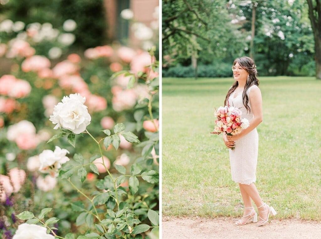 Braut mit Brautstrauß und Rosen