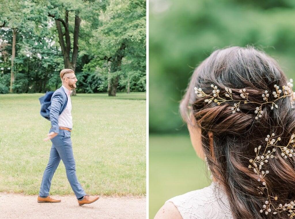 Bräutigam läuft und Nahaufnahme der Haare der Braut