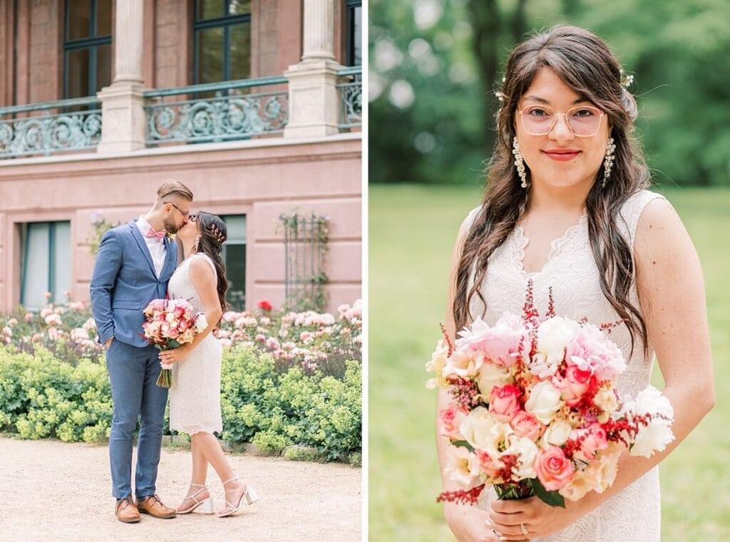 Brautpaar küsst sich und Braut mit Brautstrauß