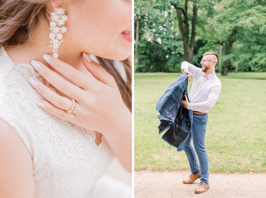 Nahaufnahme vom Schmuck der Braut und Bräutigam zieht sich sein Jackett an