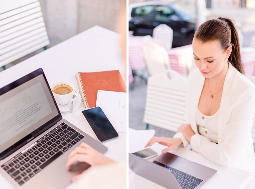 Hochzeitsplaner im Café am Laptop