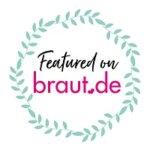 Badge: Featured on braut.de - Blätterkranz um Schrift