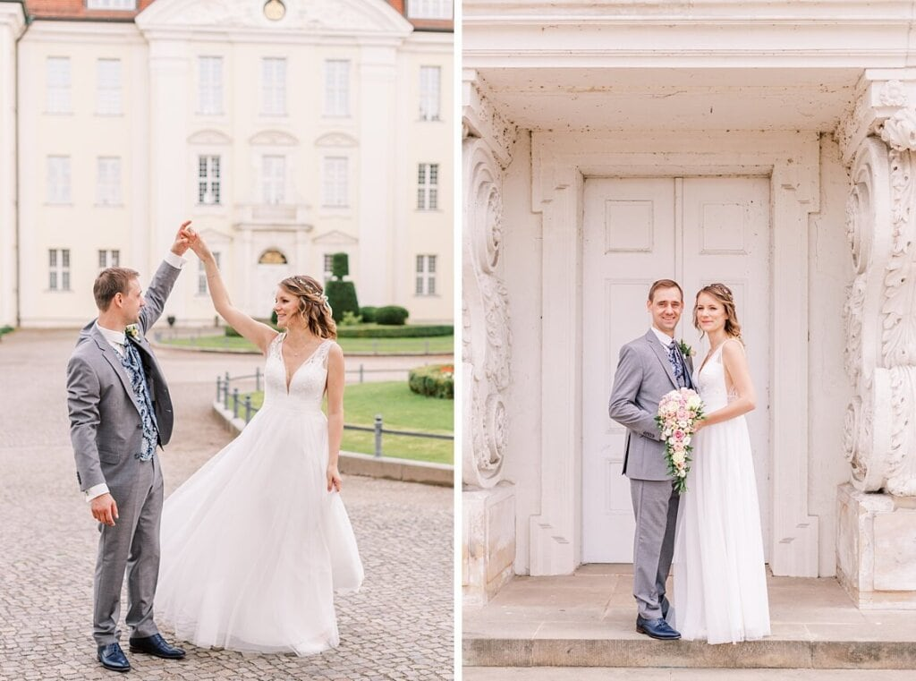 Brautpaar tanzt vor dem Schloss Köpenick