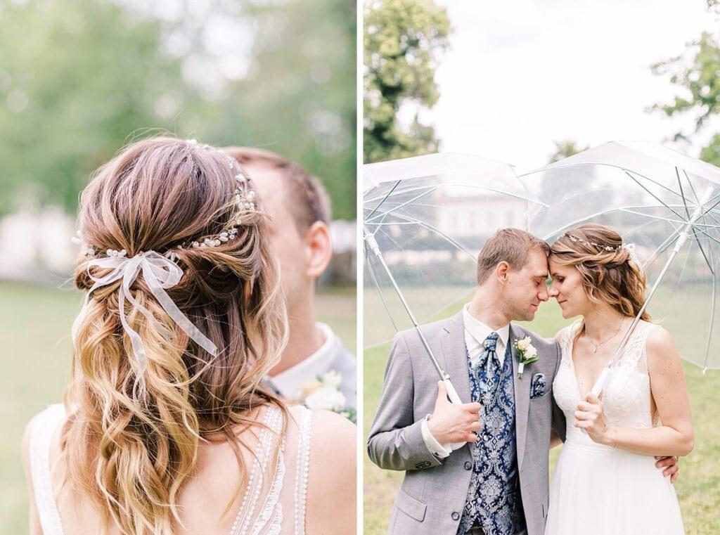 Brautpaar unterm Regenschirm und Detailfotos von der Brautfrisur