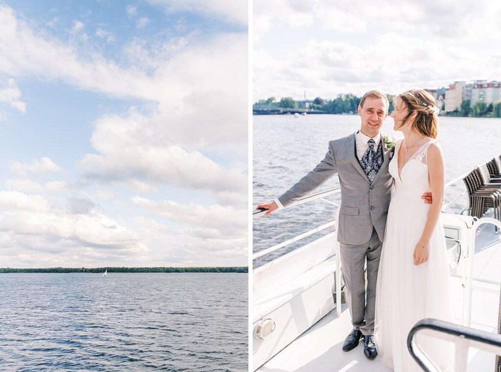 Müggelsee und Brautpaar auf Boot