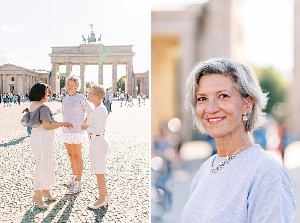 Frauen diskutieren und Portrait von Mandy