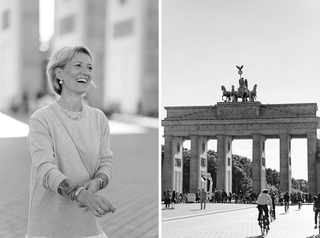 Schwarz weiß Foto Portrait einer Frau und Aufnahme vom Brandenburger Tor Berlin
