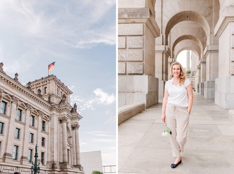 Bundestag und Portrait einer Frau vor dem Bundestag