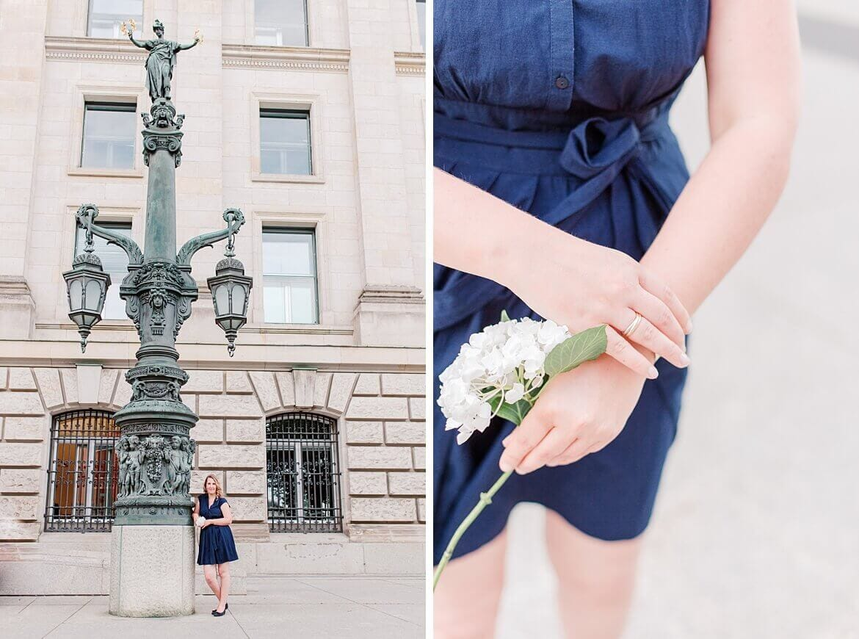 Frau im blauen Kleid vor dem Bundestag