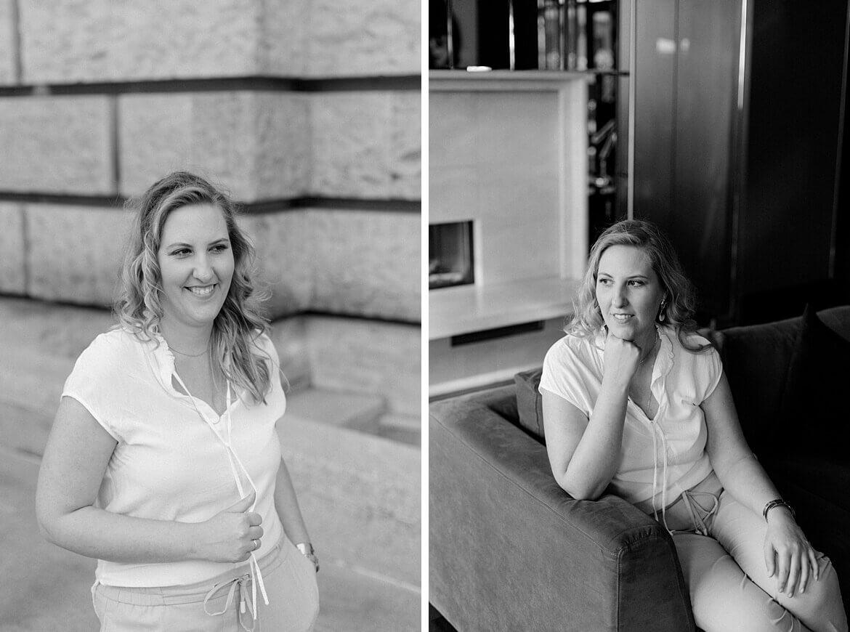 Schwarz Weiß Portraits einer blonden Frau