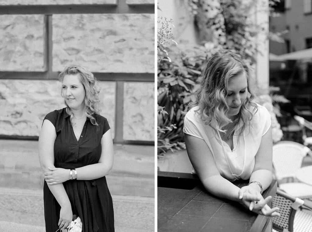 Schwarz Weiß Fotos einer blonden Frau