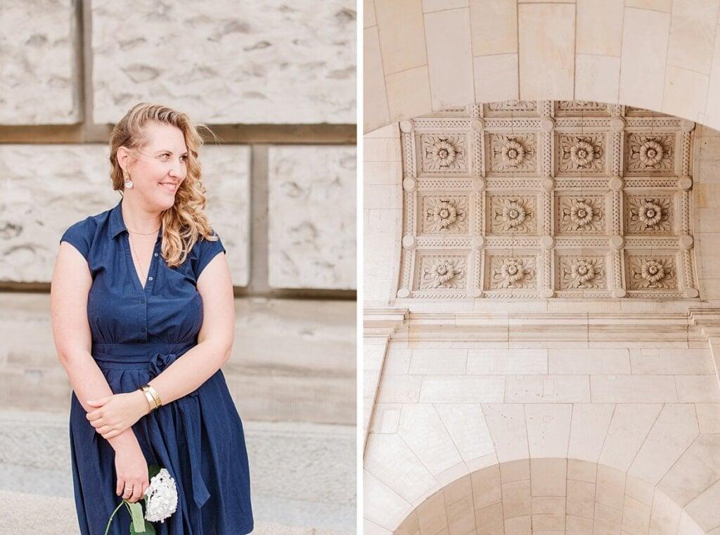 Frau im blauen Kleid schaut zur Seite