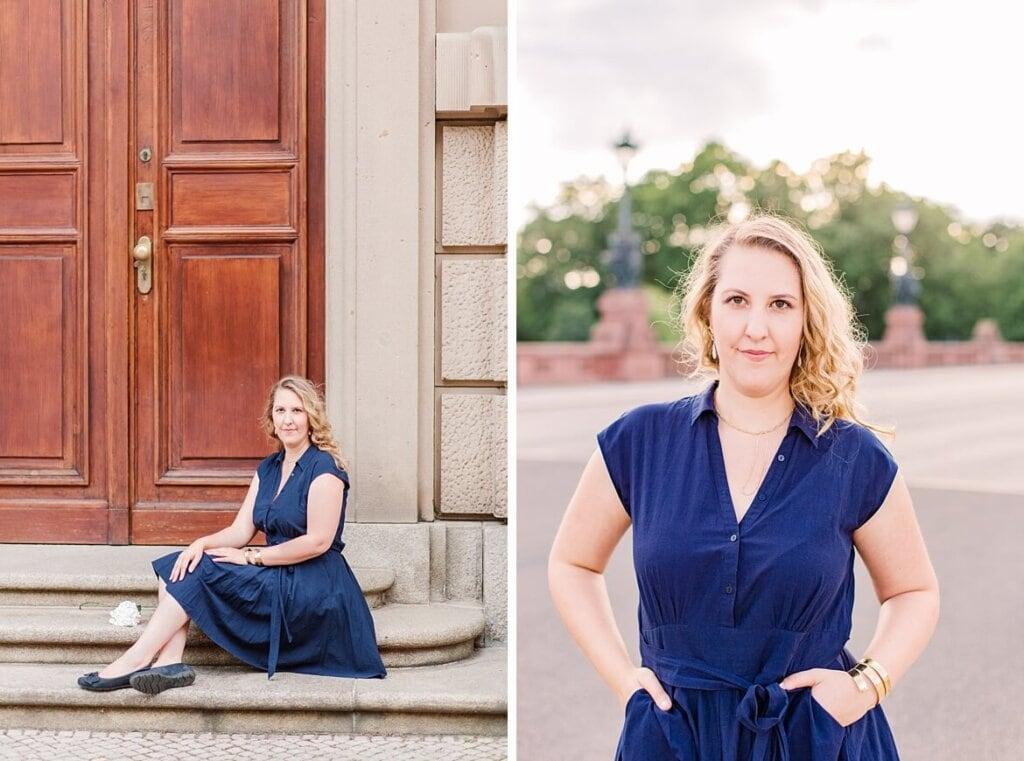 Portraits einer Frau im blauen Kleid