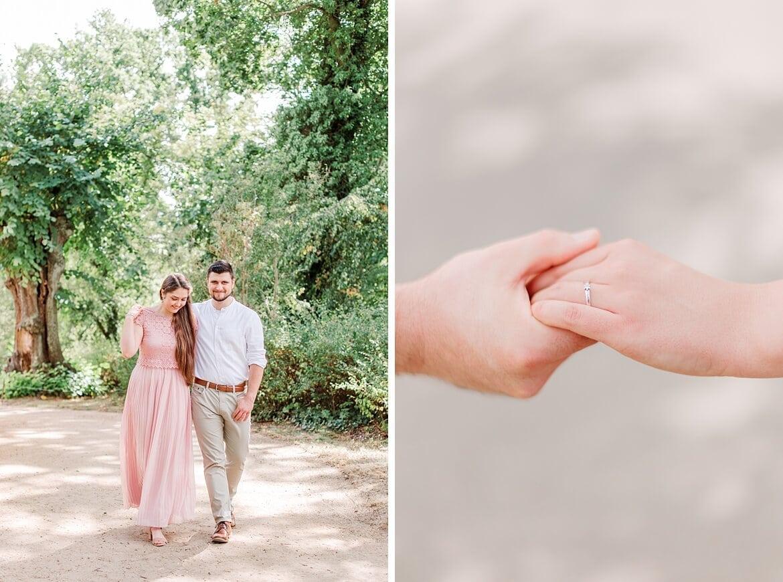Verliebtes Paar im Park und Nahaufnahmen von Händen, die sich anfassen
