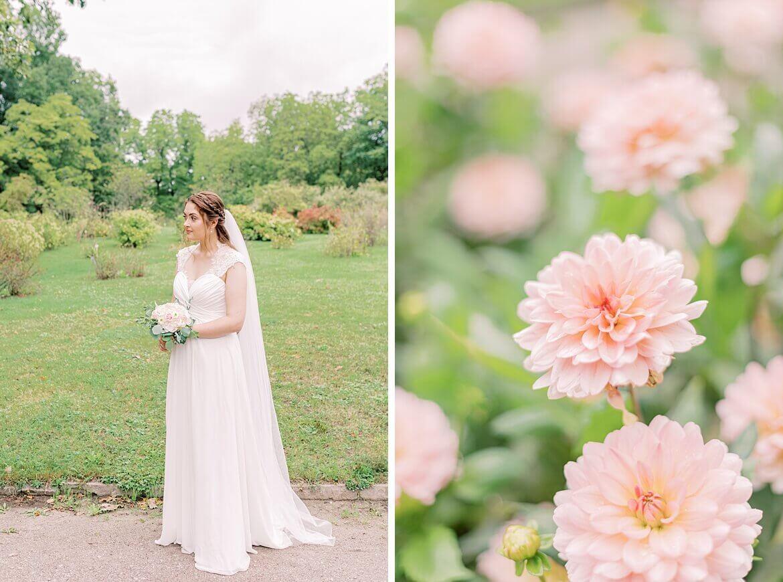 Braut im Park und Blumen in Nahaufnahme