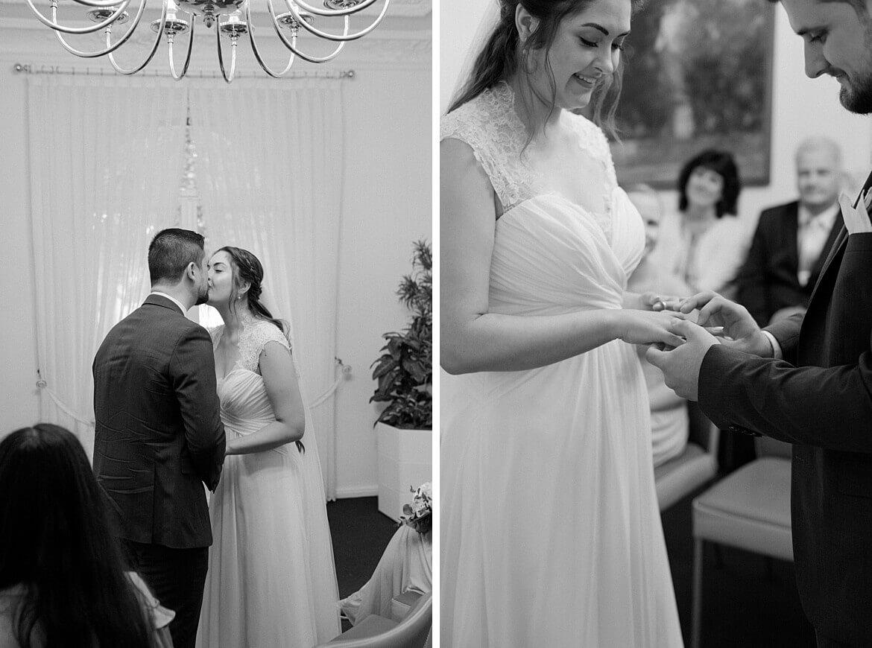 Schwarz Weiß Fotos von einem Brautpaar in der Hochzeitsvilla Zehlendorf