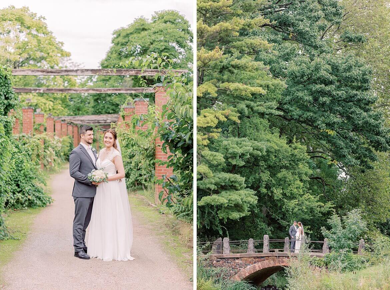 Brautpaar im Park und auf Brücke