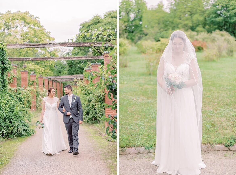 Brautpaar im Park und Braut unter Schleier