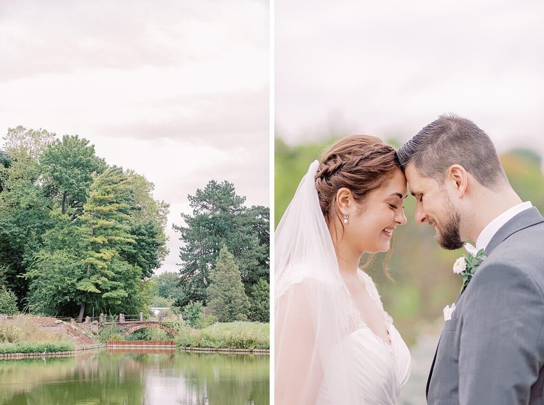 Brautpaar legt Stirn an Stirn aufeinander