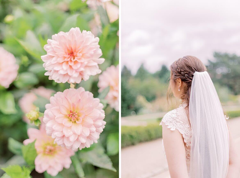 Braut von hinten und Blumen