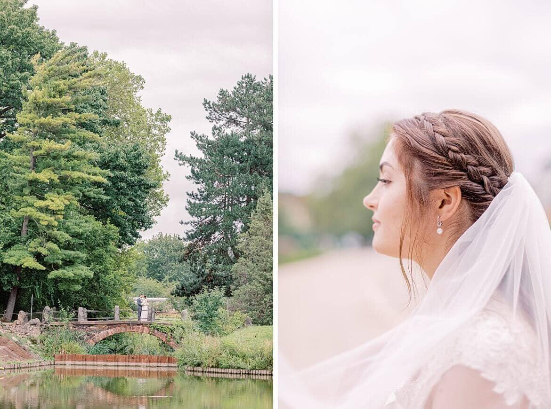 Brautpaar auf Brücke und Nahaufnahme der Braut