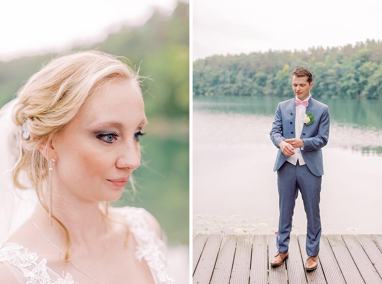 Braut und Bräutigam vor einem See