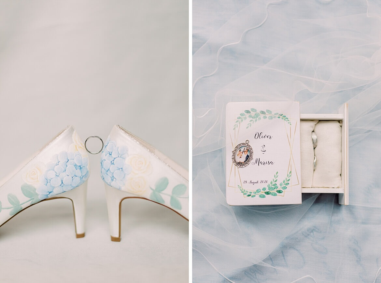 Brautschuhe mit Ehering und Ringbox mit Medaillon
