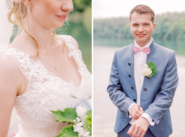 Braut und Bräutigam vor See