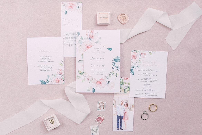 Hochzeitseinladung Flatlay