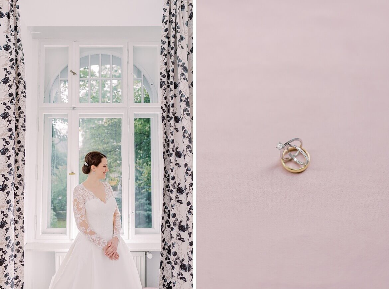 Braut im Fenster und Ringe
