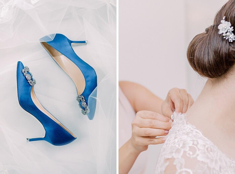 Manolo Blahnik und Braut schließt Kleid