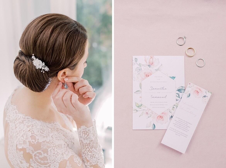 Braut steckt Ohrringe an