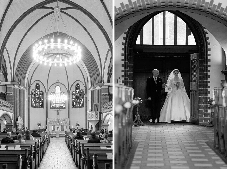 Braut läuft in Kirche ein
