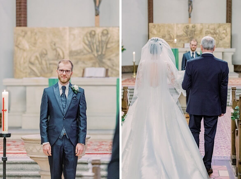 Bräutigam wartet am Altar auf Braut
