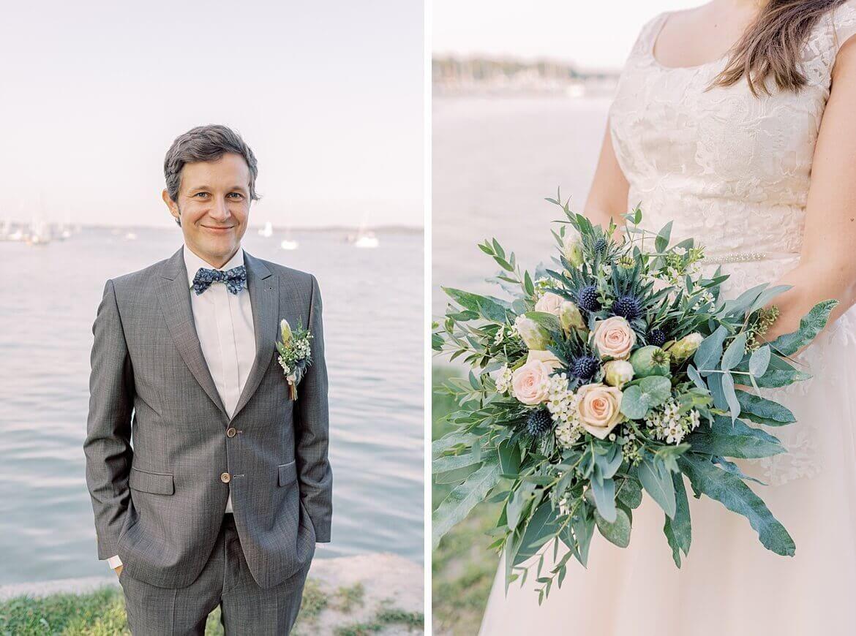 Bräutigam und Brautstrauß