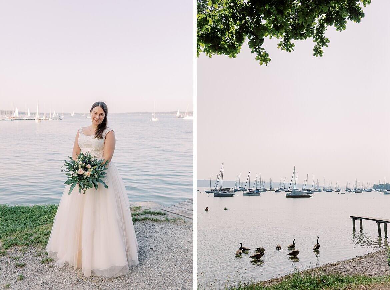 Braut und Boote am Ammersee