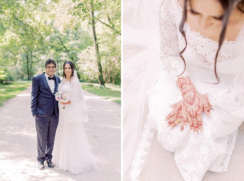 Brautpaar im Park, Braut mit Henna