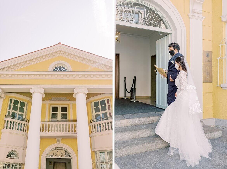 Brautpaar vor Standesamt Mandlstraße in München