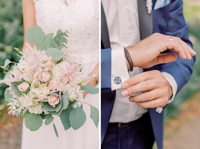 Brautstrauß und Manschettenknöpfe