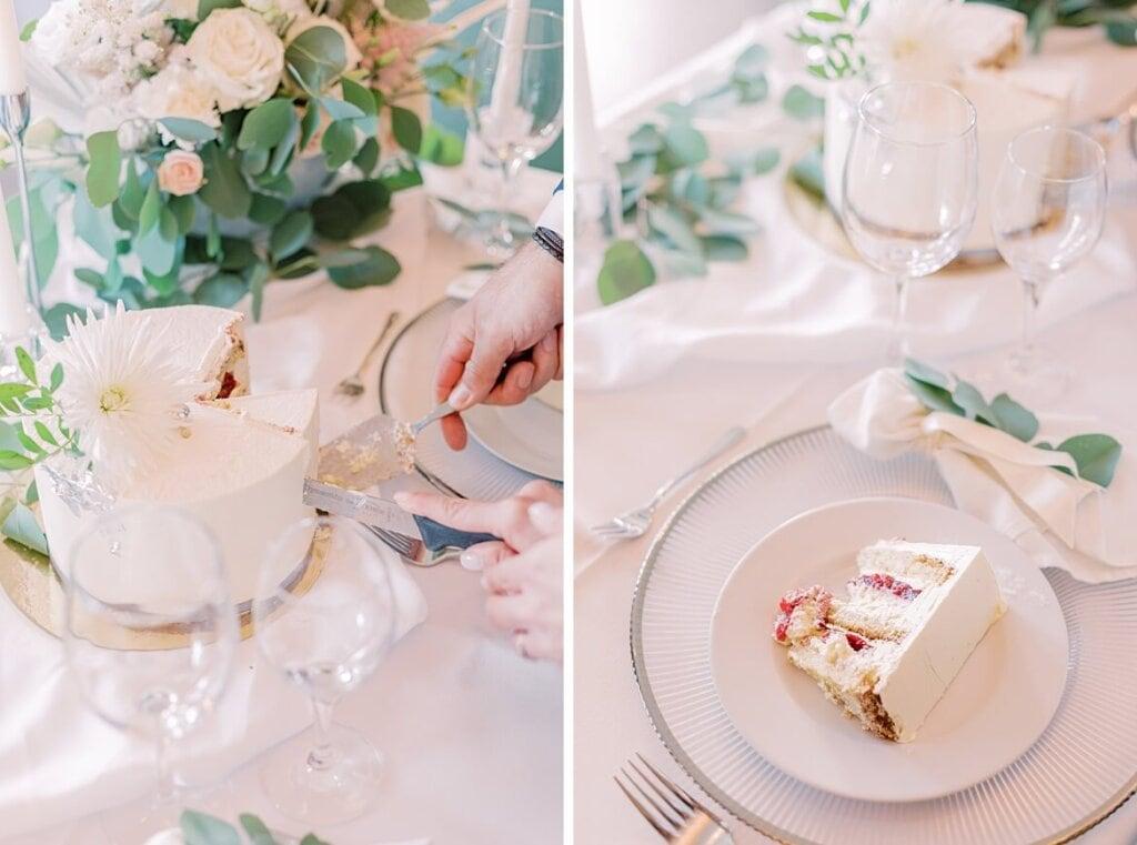 Hochzeitstorte auf Teller