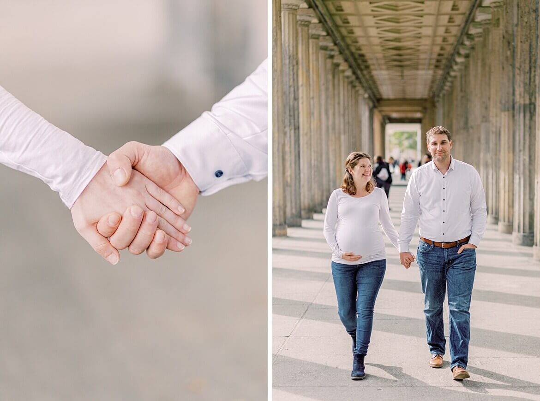 Paar läuft in Kolonnaden